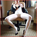 "AmberLily as the ""sexy secretary"" or ""lady boss"" in white pantyhose!"